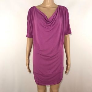 Athleta Draped Neckline Ruched Dress Orchid S